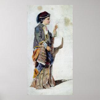 Figura de un chica en traje turco, siglo XIX Póster