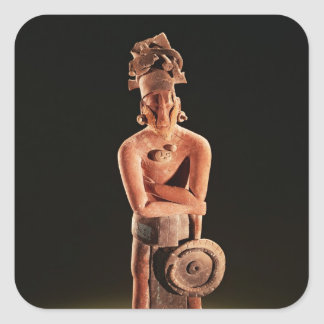 Figura de un guerrero con un escudo pegatina cuadrada