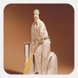 Figura de un jugador de criquet, 1865 de pegatina cuadrada