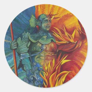 Figura del carnaval del fuego y del agua etiqueta