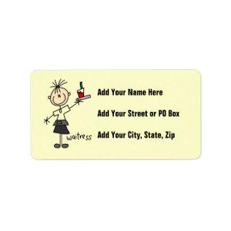 Figura del palillo de la camarera etiqueta de dirección