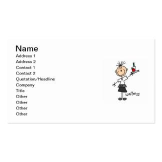 Figura del palillo de la camarera tarjetas de visita