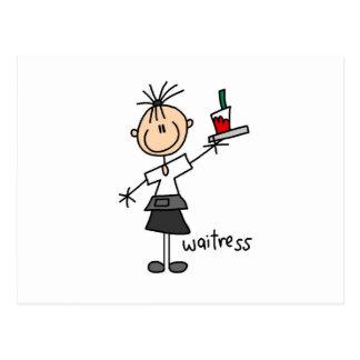 Figura del palillo de la camarera tarjetas postales
