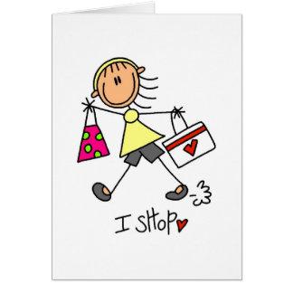 Figura del palillo de las compras tarjeta de felicitación