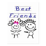 Figura del palillo de los mejores amigos tarjetas postales