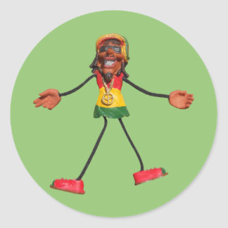 Figura del palillo de Rasta con el signo de la paz Pegatina Redonda