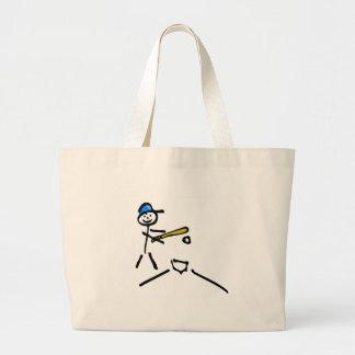 Figura del palillo del béisbol bolsa lienzo