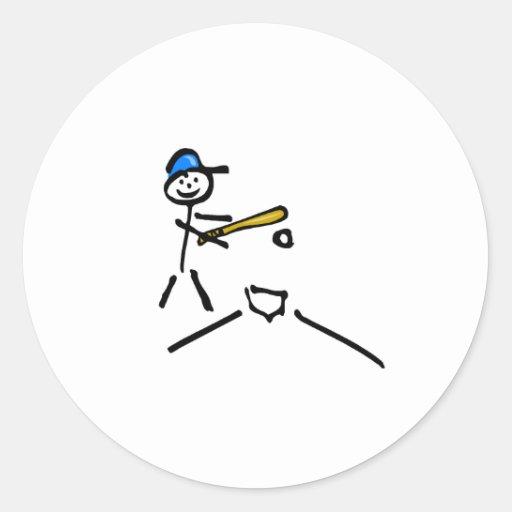 Figura del palillo del béisbol pegatina redonda