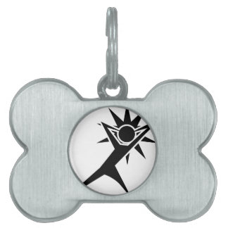 Figura del palillo del combatiente del super héroe placas de nombre de mascota