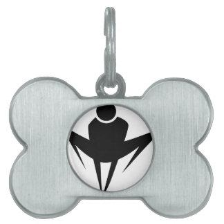 Figura del palillo del combatiente del super héroe placa de nombre de mascota