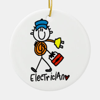 Figura del palillo del electricista adorno navideño redondo de cerámica