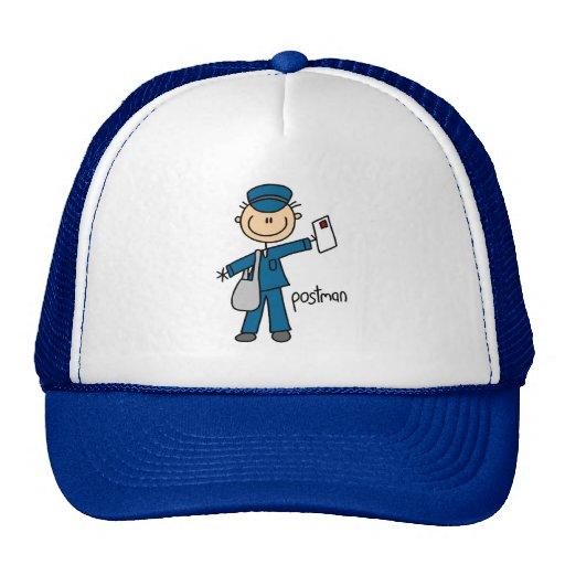 Figura del palillo del empleado de correos gorra