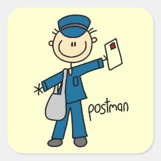 Figura del palillo del empleado de correos pegatina cuadrada