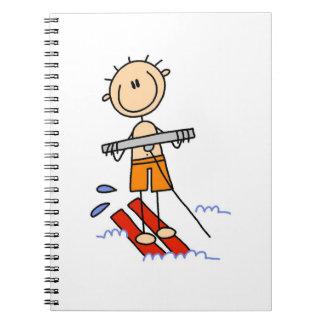 Figura del palillo del esquí acuático libros de apuntes con espiral