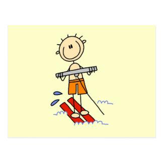 Figura del palillo del esquí acuático postal