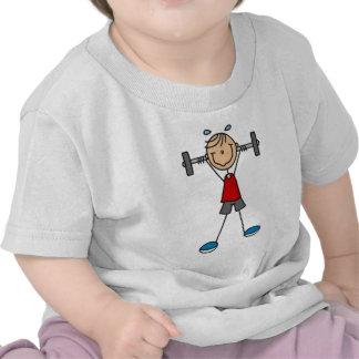 Figura del palillo del levantamiento de pesas camisetas