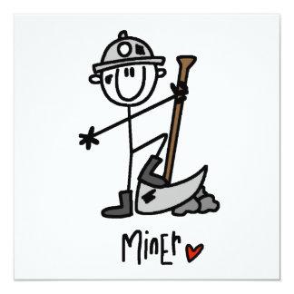 Figura del palillo del minero invitacion personalizada