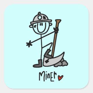 Figura del palillo del minero pegatina cuadrada