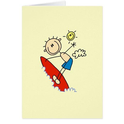 Figura del palillo del muchacho que practica surf tarjetas