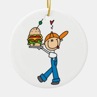Figura del palillo del perito del bocadillo adorno navideño redondo de cerámica
