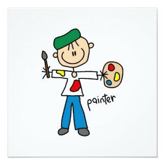 """Figura del palillo del pintor invitación 5.25"""" x 5.25"""""""