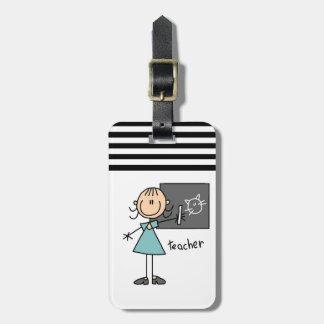 Figura del palillo del profesor etiquetas maletas