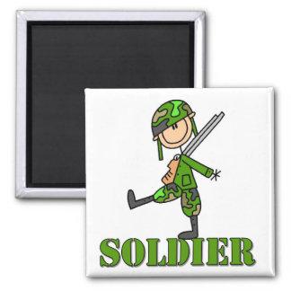 Figura del palillo del soldado imanes para frigoríficos