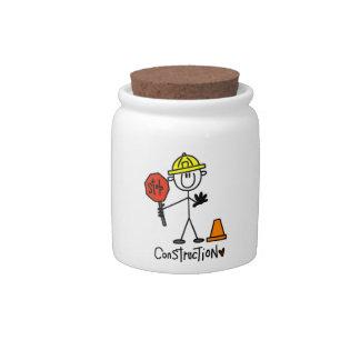 Figura del palillo del trabajador de construcción jarras para caramelos
