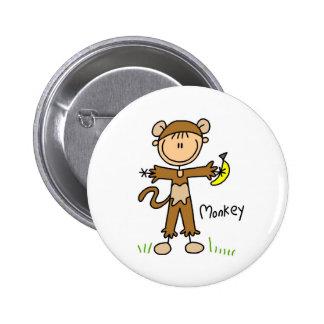 Figura del palillo en botón del juego de mono