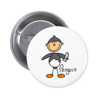 Figura del palillo en botón del juego de pingüino