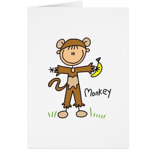 Figura del palillo en tarjeta del juego de mono