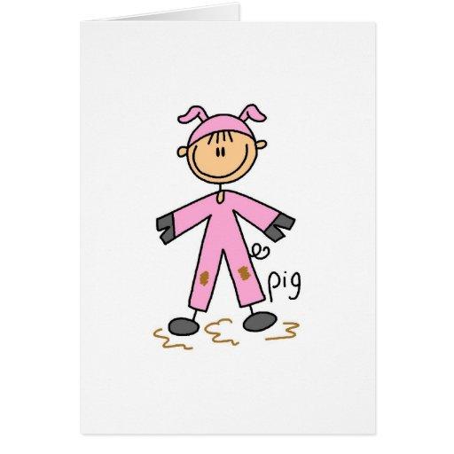 Figura del palillo en tarjeta del juego del cerdo