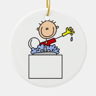 Figura del palillo que hace platos ornamento para arbol de navidad