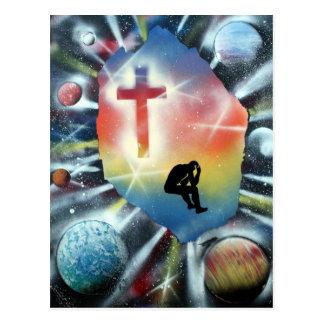 Figura desesperada cruz colorida del universo postal