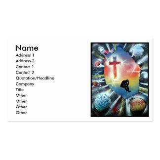 Figura desesperada cruz colorida del universo tarjeta de visita