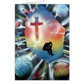 Figura desesperada cruz colorida del universo tarjeta pequeña