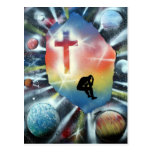 Figura desesperada cruz colorida del universo tarjetas postales