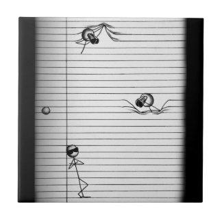 Figura dibujo del palillo de espías y del espía en azulejo cuadrado pequeño