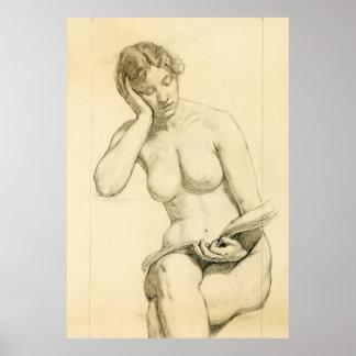 Figura dibujo - lectura de la mujer poster