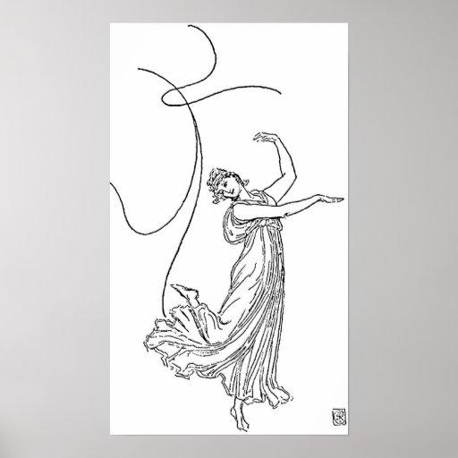 Figura dibujo lineal del baile posters