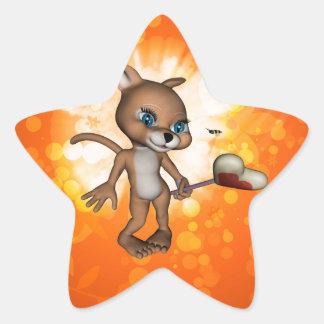 Figura divertida del dibujo animado con la abeja calcomanía forma de estrella