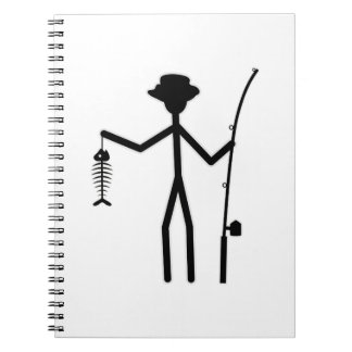 Figura divertida del palillo del pescador que sost cuaderno