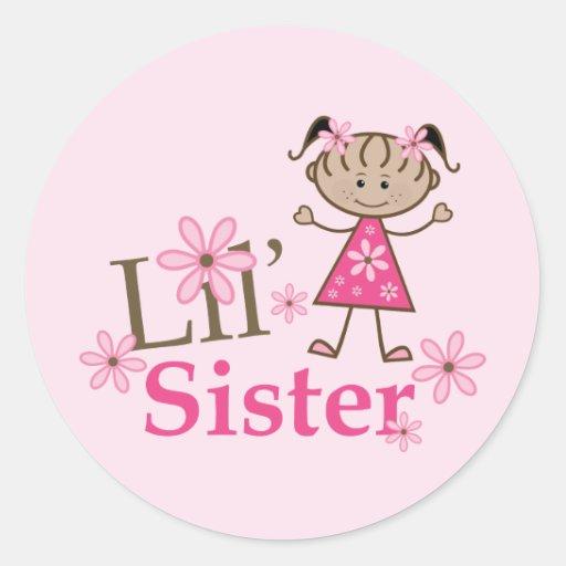Figura étnica chica del palillo de la hermana de pegatinas redondas