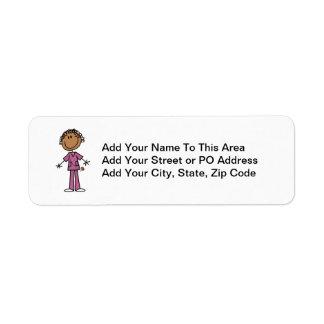 Figura femenina afroamericana enfermera del palill etiquetas de remite