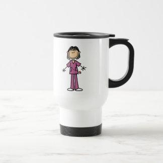 Figura femenina asiática enfermera del palillo taza térmica