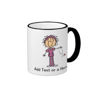 Figura femenina blanca camisetas y regalo del pali taza de café