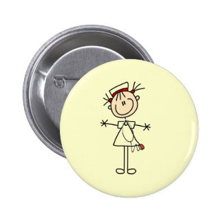 Figura femenina blanca regalos del palillo de la e pin redondo de 2 pulgadas