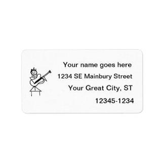 figura femenina del palillo de la guitarra baja bl etiquetas de dirección