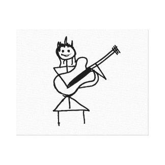 figura femenina del palillo de la guitarra baja bl lienzo envuelto para galerías