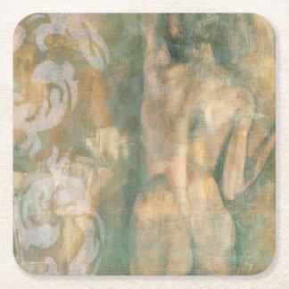 Figura femenina desnuda de Jennifer Goldberger Posavasos Personalizable Cuadrado